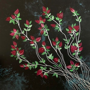 (CreativeWork) Banksia Roses - original art on canvas by Debra Ryan. mixed-media. Shop online at Bluethumb.