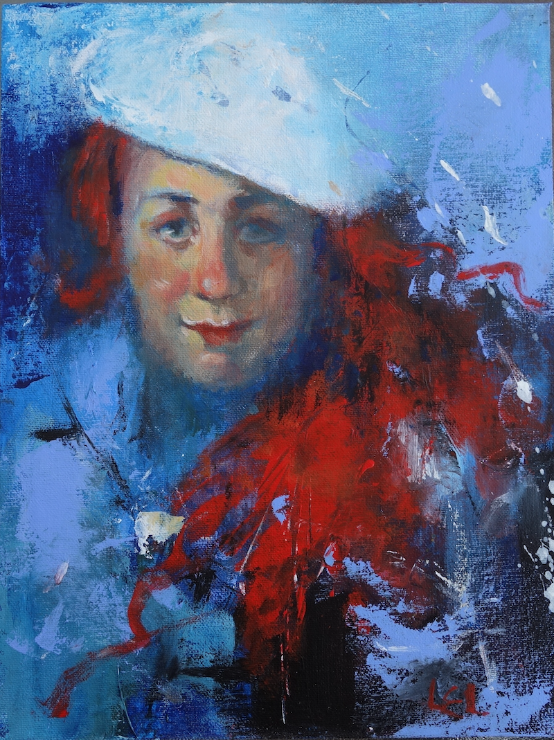 (CreativeWork) White Beret by Lorraine Lewitzka. Acrylic Paint. Shop online at Bluethumb.