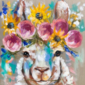 (CreativeWork) Sunshine llama  by Amanda Brooks. acrylic-painting. Shop online at Bluethumb.