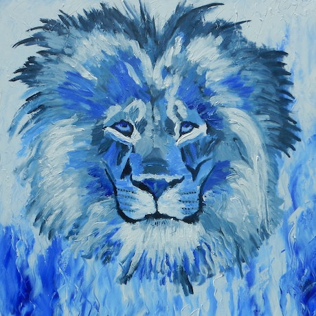 (CreativeWork) Hear This Lion Roar by Kerry T. Acrylic Paint. Shop online at Bluethumb.