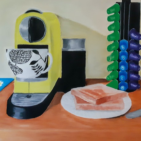 (CreativeWork) Breakfast With No Butter by Mark O'Hara. Oil Paint. Shop online at Bluethumb.