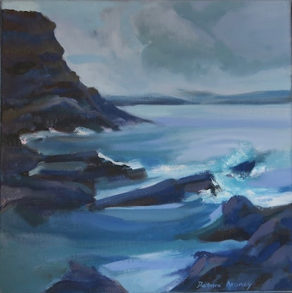 (CreativeWork) Dusk on the Coast -framed by Barbara Aroney. Oil Paint. Shop online at Bluethumb.