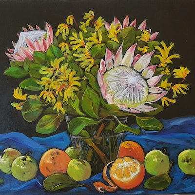 (CreativeWork) STILL LIFE with BLUE CLOTH by Suzy Strout. acrylic-painting. Shop online at Bluethumb.