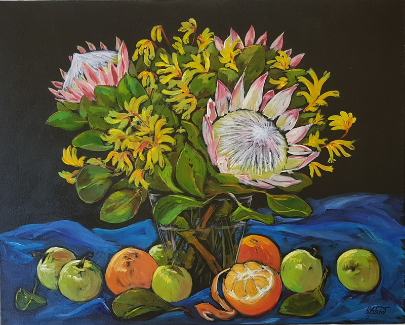 (CreativeWork) STILL LIFE with BLUE CLOTH by Suzy Strout. Acrylic Paint. Shop online at Bluethumb.