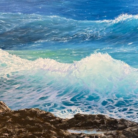 (CreativeWork) Into the Blue by Janet Claydon. Oil Paint. Shop online at Bluethumb.