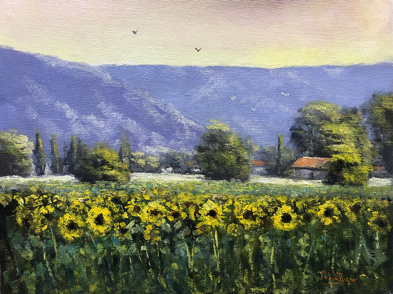 (CreativeWork) Sunflowers At Sinalunga by John Rice. Oil Paint. Shop online at Bluethumb.