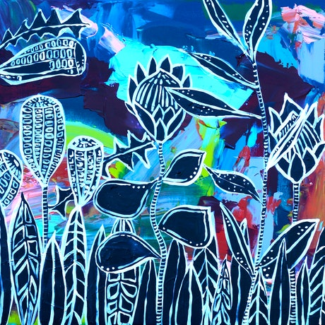 (CreativeWork) Natively Unnatural  by Kirsty Godwin. Acrylic Paint. Shop online at Bluethumb.