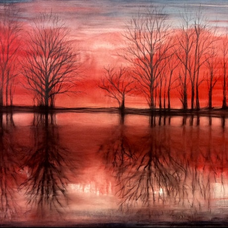 (CreativeWork) Scarlet Reflection by Eva Horvath. Mixed Media. Shop online at Bluethumb.