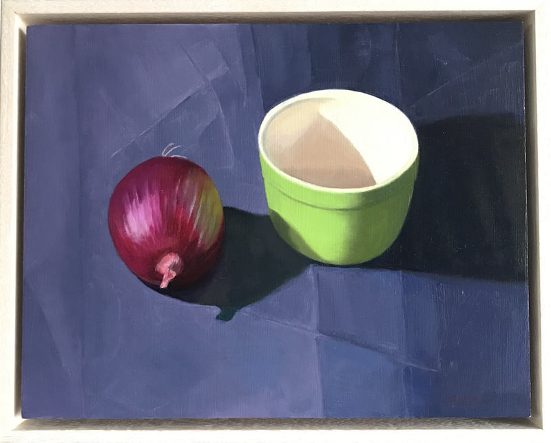 (CreativeWork) Onion & Green Pot by Ishbel Morag Miller. Oil Paint. Shop online at Bluethumb.