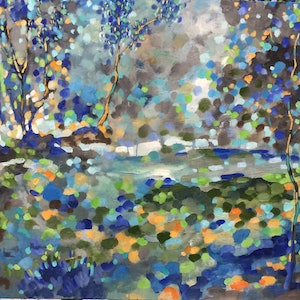 (CreativeWork) A colourful landscape 1 by sue bannister. oil-painting. Shop online at Bluethumb.