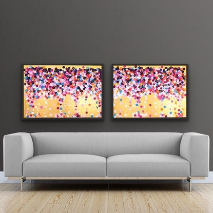 (CreativeWork) On sale Fete 184x62 framed diptych  by Sophie Lawrence. Acrylic Paint. Shop online at Bluethumb.