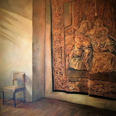 (CreativeWork) Italian Tapestry by Kerry Doran. Oil Paint. Shop online at Bluethumb.