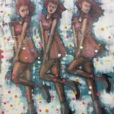 (CreativeWork) SPOTTY TRIO by LAURIE MCKERN. mixed-media. Shop online at Bluethumb.