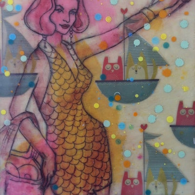 (CreativeWork) POLKA DOT SEA VOYAGE by LAURIE MCKERN. mixed-media. Shop online at Bluethumb.