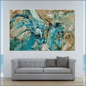 (CreativeWork) Creamed Honey 160cm x 100cm  Green Rust Texture Acrylic Gloss Finish Abstract by _Franko _. #<Filter:0x000055b1a7a3e888>. Shop online at Bluethumb.