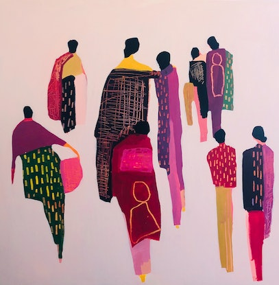 (CreativeWork) Things I saw in your neighbourhood by Sharon Monagle. Acrylic Paint. Shop online at Bluethumb.
