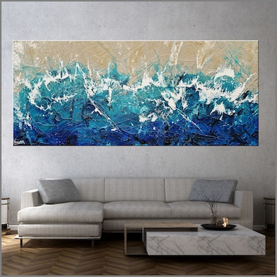 (CreativeWork) Oceanic Grace 240cm x 100cm Teal Blue Cream White Texture Acrylic Gloss Finish Abstract by _Franko _. acrylic-painting. Shop online at Bluethumb.
