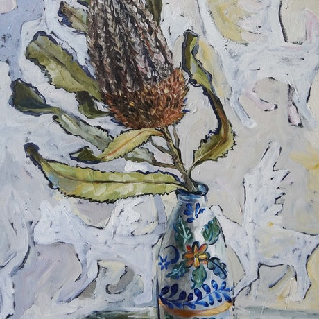 (CreativeWork) Still Life with Banksia by Katerina Apale. Oil Paint. Shop online at Bluethumb.
