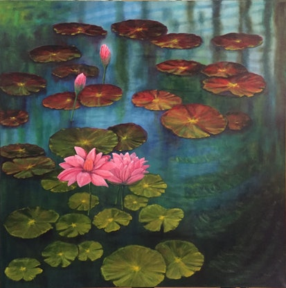(CreativeWork) Tranquility by Dennis Arnold. Oil Paint. Shop online at Bluethumb.
