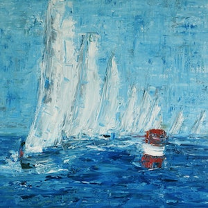 (CreativeWork) Regatta - sailing boats by Naomi Veitch. oil-painting. Shop online at Bluethumb.