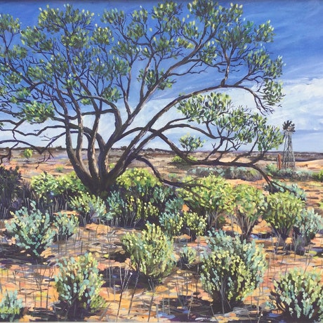 (CreativeWork) Shade Tree ( framed) by Sue McCutcheon. Oil Paint. Shop online at Bluethumb.
