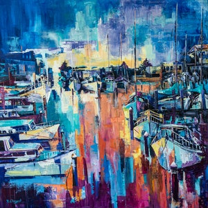 (CreativeWork) Mordialloc Harbour, First Light by Rosa d'Argent. #<Filter:0x00007f51453111e8>. Shop online at Bluethumb.
