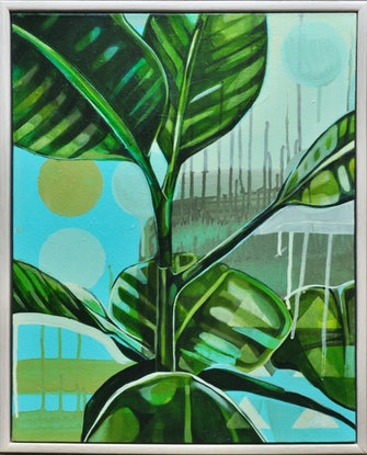 (CreativeWork) Rubber Plant Love by Tamara Armstrong. Acrylic. Shop online at Bluethumb.