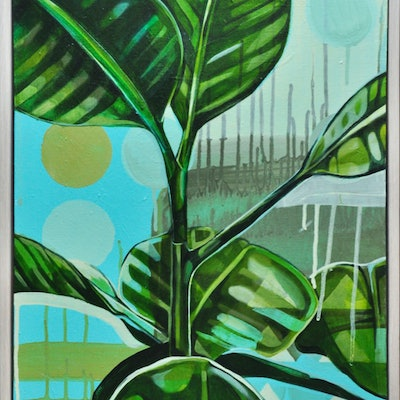 (CreativeWork) Rubber Plant Love by Tamara Armstrong. Acrylic Paint. Shop online at Bluethumb.