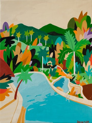 (CreativeWork) Pool in The Bush by Bruno Mota. Acrylic Paint. Shop online at Bluethumb.