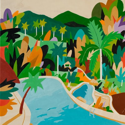 (CreativeWork) Pool in The Bush by Bruno Mota. acrylic-painting. Shop online at Bluethumb.