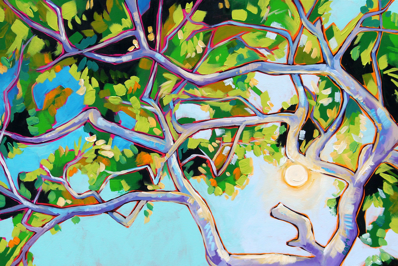 (CreativeWork) Gum Tree by Eve Izzett. Acrylic Paint. Shop online at Bluethumb.
