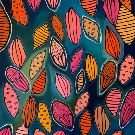 (CreativeWork) Seed Pods  by Hayley Mischief Lord. Acrylic Paint. Shop online at Bluethumb.