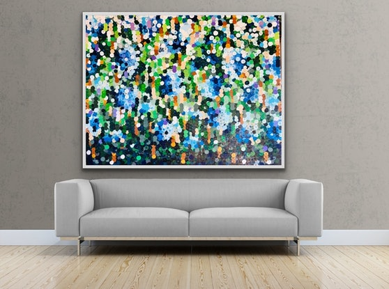 (CreativeWork) Blue hydrangeas 152x122 framed large abstract by Sophie Lawrence. Acrylic Paint. Shop online at Bluethumb.