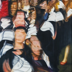 (CreativeWork) Invasion of the Graduates by Dennis Arnold. oil-painting. Shop online at Bluethumb.