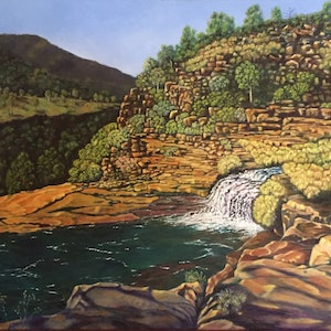 (CreativeWork) Taking the Plunge (above Kings Cascade, Kimberley) by Dennis Arnold. oil-painting. Shop online at Bluethumb.