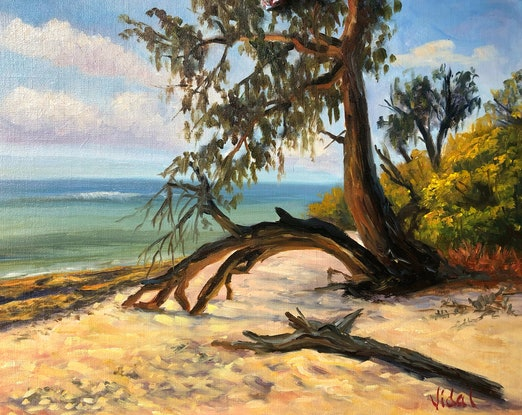 (CreativeWork) On the shore of Lady Musgrave Island, Queensland - Oil on linen board  by Christopher Vidal. #<Filter:0x00007f7bb15ebb48>. Shop online at Bluethumb.