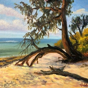 (CreativeWork) On the shore of Lady Musgrave Island, Queensland - Oil on linen board  by Christopher Vidal. oil-painting. Shop online at Bluethumb.