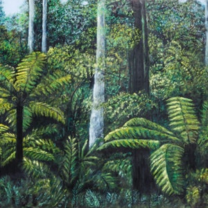 (CreativeWork) Green Peace by Dennis Arnold. oil-painting. Shop online at Bluethumb.