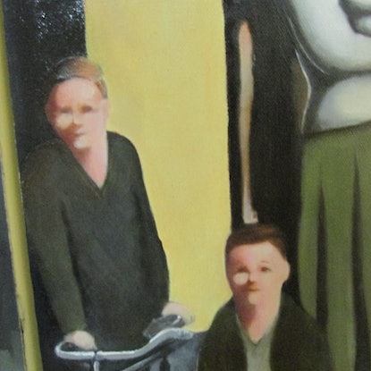 (CreativeWork) The Whole Town Came To Watch by Janelle White. Oil Paint. Shop online at Bluethumb.