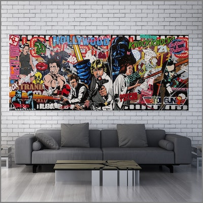 (CreativeWork) Cinematic - The Next Chapter 240cm x 100cm Movies Urban Pop Art Textured Acrylic Gloss Finish FRANKO by _Franko _. mixed-media. Shop online at Bluethumb.