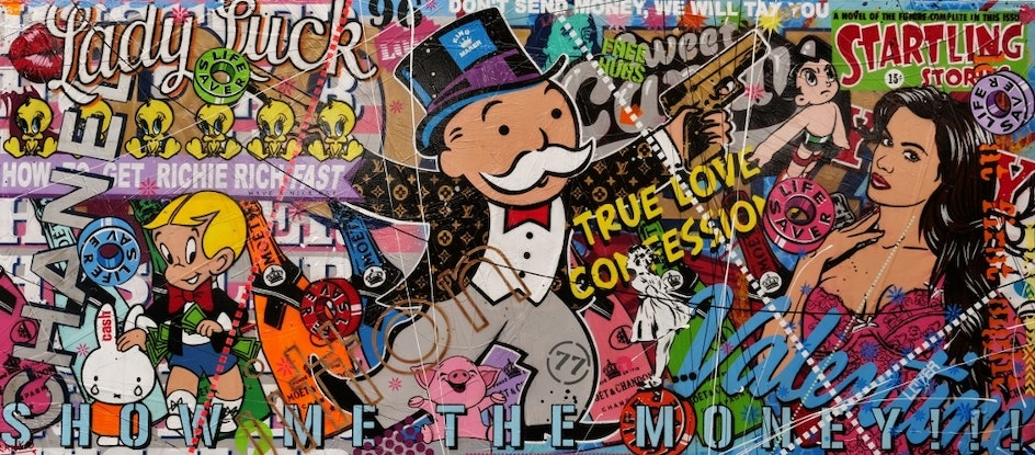 (CreativeWork) All About The Money 270cm x 120cm Monopoly Man Urban Pop Art Textured Acrylic Gloss Finish FRANKO by _Franko _. Mixed Media. Shop online at Bluethumb.