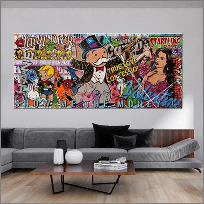 (CreativeWork) All About The Money 270cm x 120cm Monopoly Man Urban Pop Art Textured Acrylic Gloss Finish FRANKO by _Franko _. #<Filter:0x0000557685e5cfa8>. Shop online at Bluethumb.