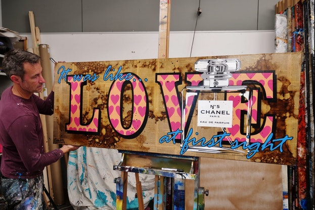 (CreativeWork) Chanel - Love at First Sight 160cm x 60cm Chanel Perfume Book Page Canvas Urban Pop Art FRANKO by _Franko _. Mixed Media. Shop online at Bluethumb.