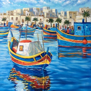 (CreativeWork) Malta Traditional Fishing Boats by Irina Redine. oil-painting. Shop online at Bluethumb.