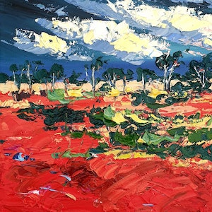 (CreativeWork) Red Centre 2 by Angela Hawkey. oil-painting. Shop online at Bluethumb.
