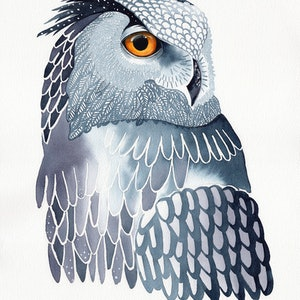 (CreativeWork) Great Horned Owl in Blue – Watercolour A3  by Clare McCartney. watercolour. Shop online at Bluethumb.