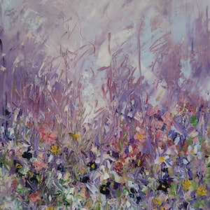 (CreativeWork) Abstract - Wild Flowers by Maria Cross. Oil Paint. Shop online at Bluethumb.