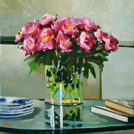 (CreativeWork) Flowers In Season - Still Life by Judith Dalozzo. Oil Paint. Shop online at Bluethumb.