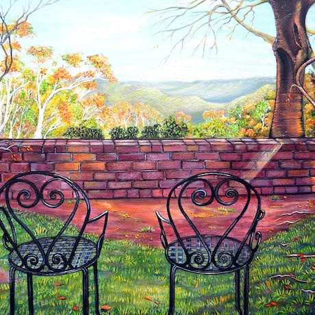 (CreativeWork) Nature's Window, Blue Mountains by Linda Callaghan. Acrylic Paint. Shop online at Bluethumb.
