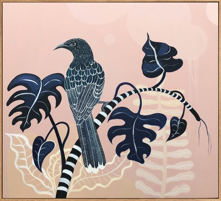 (CreativeWork) Wattlebird Monstera by Sally Browne. Acrylic Paint. Shop online at Bluethumb.